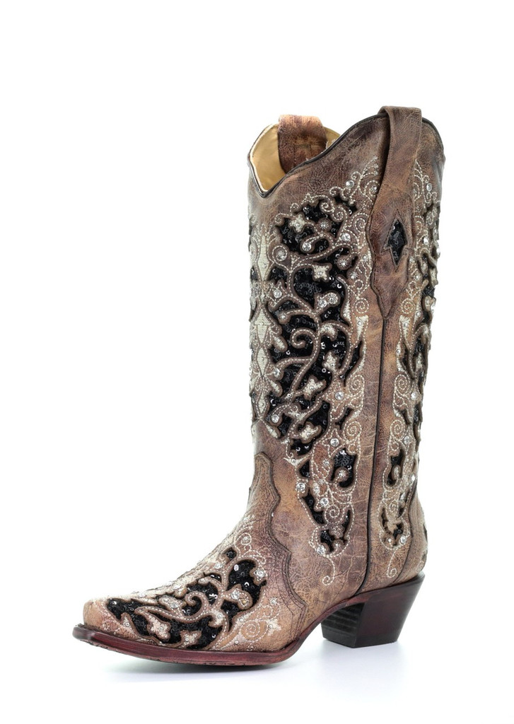 Women's Corral Boots, Brown Snip Toe with Black Inlay, Floral Embriosery, Studs