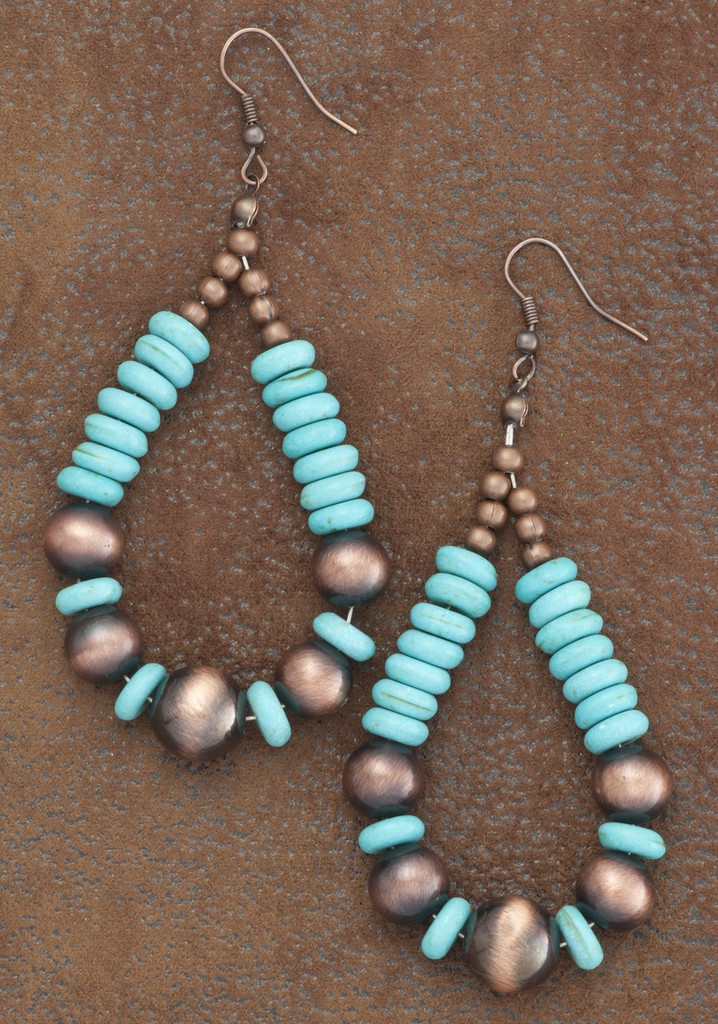 West & Co. Earrings, Copper and Turquoise Teardrop