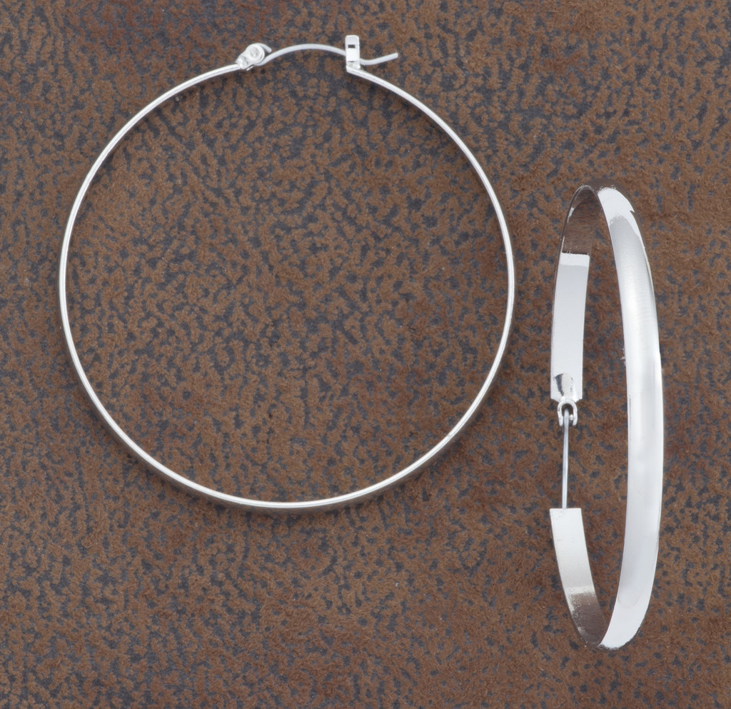 West & Co. Earrings, Plain Silver Hoop