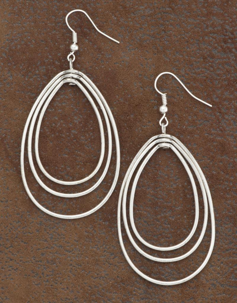 West & Co. Earrings, Silver 3 Layer Teardrop
