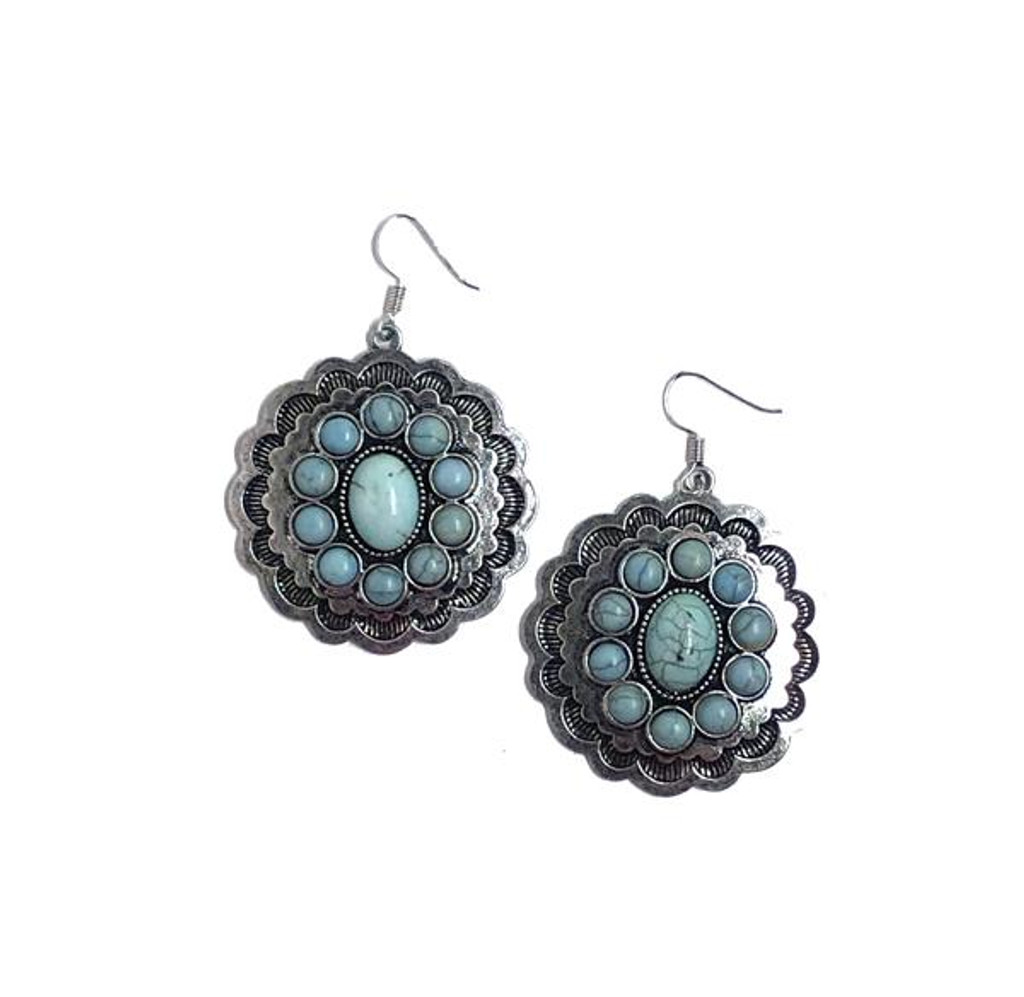 West & Co. Earrings, Burnished Silver, Large Concho with Multiple Turquoise Stone Inlay