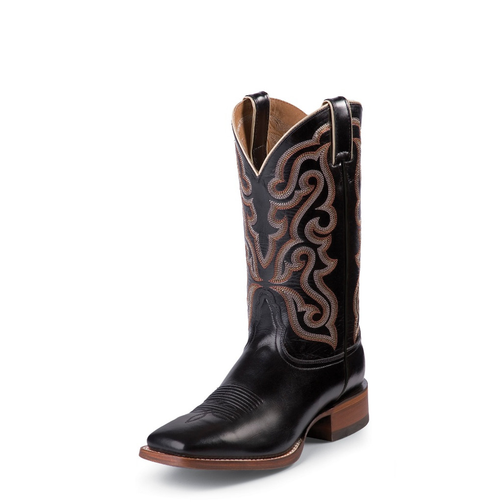Men's Nocona Boot, Black Brasalis Calf, Square Toe