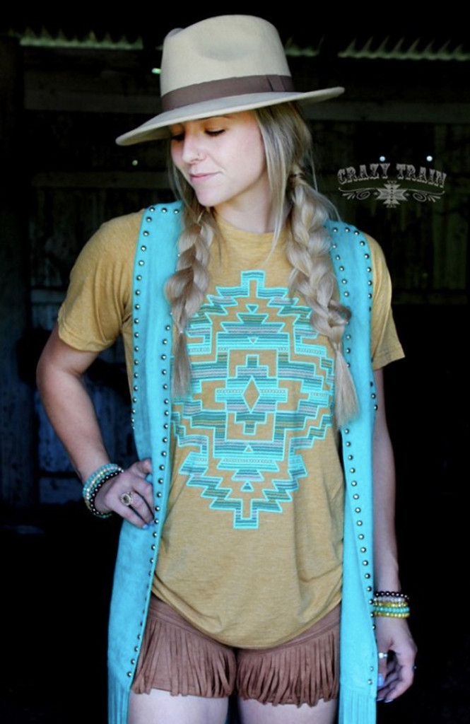 Women's Crazy Train Duster, Texarkana Turquoise, Studded