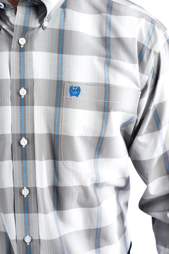 Men's Cinch L/S, Gray, Blue and White Plaid