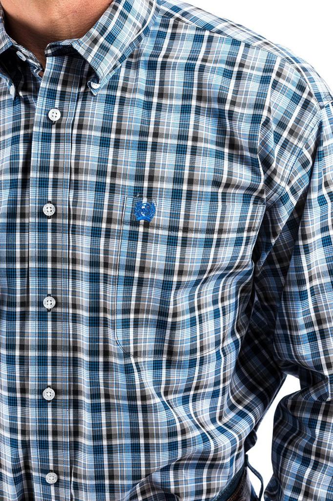 Men's Cinch L/S, Blue, Gray and White Plaid