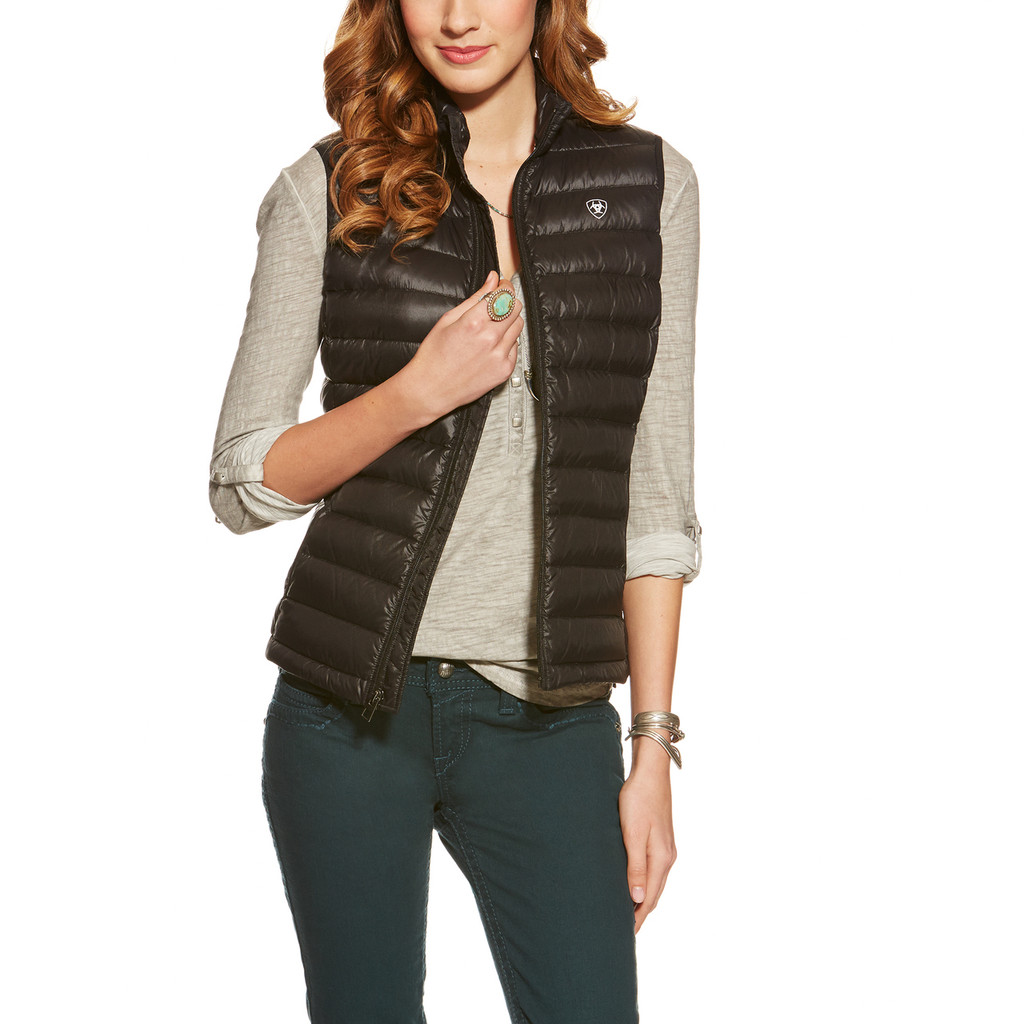 Women's Ariat Vest, Black Ideal Down