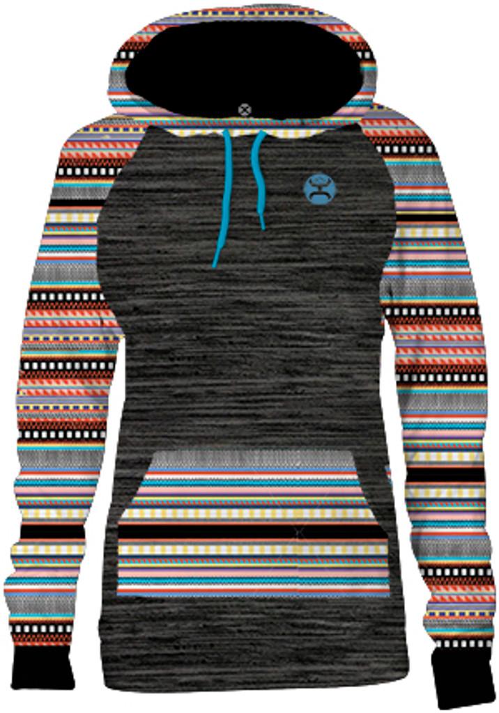 Girls Hooey Hoodie, Charcoal with Aztec Print