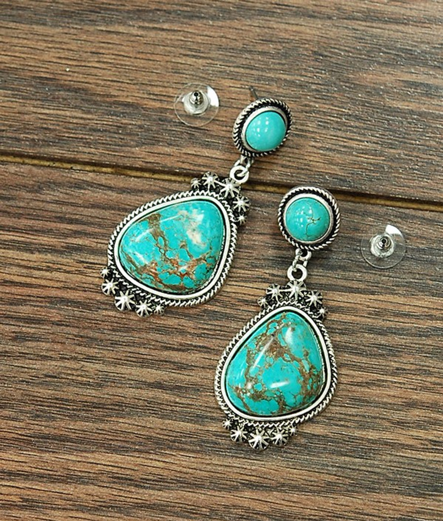 Isac Trading Earrings, Turquoise with Silver Rope Border