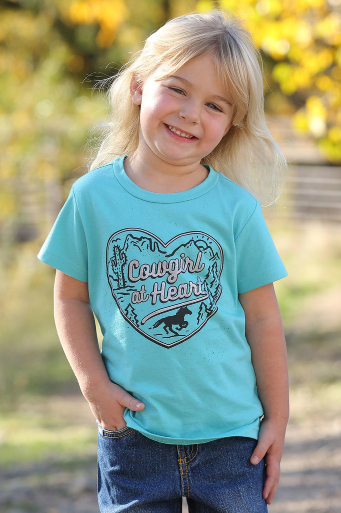 Girls Cruel Girl Tee, Cowgirl At Heart, Blue