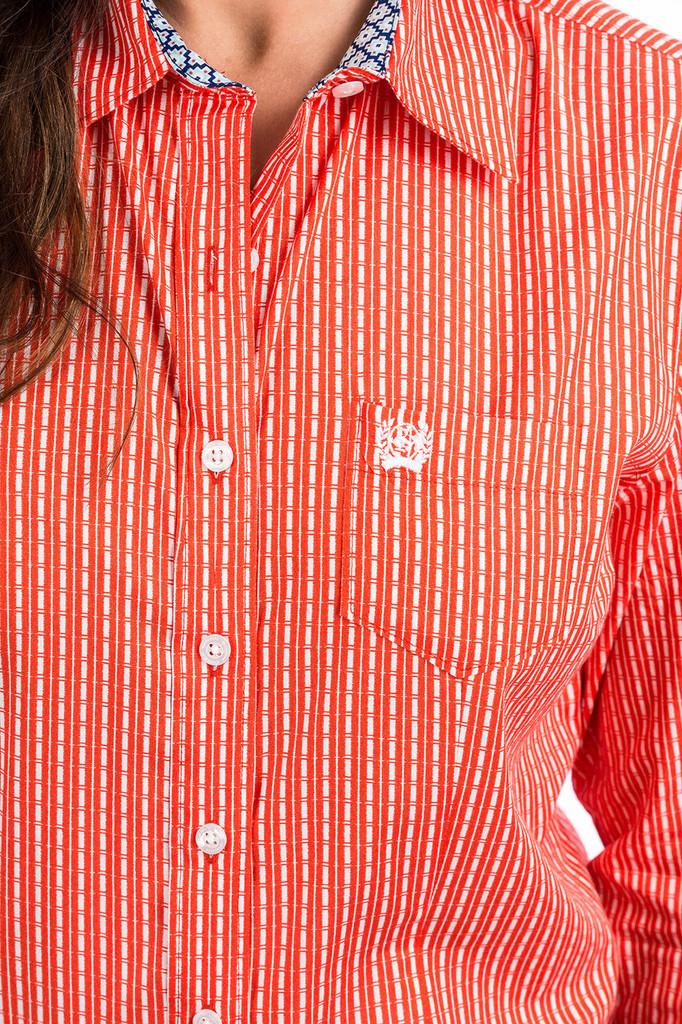 Women's Cinch L/S, Orange and White Print