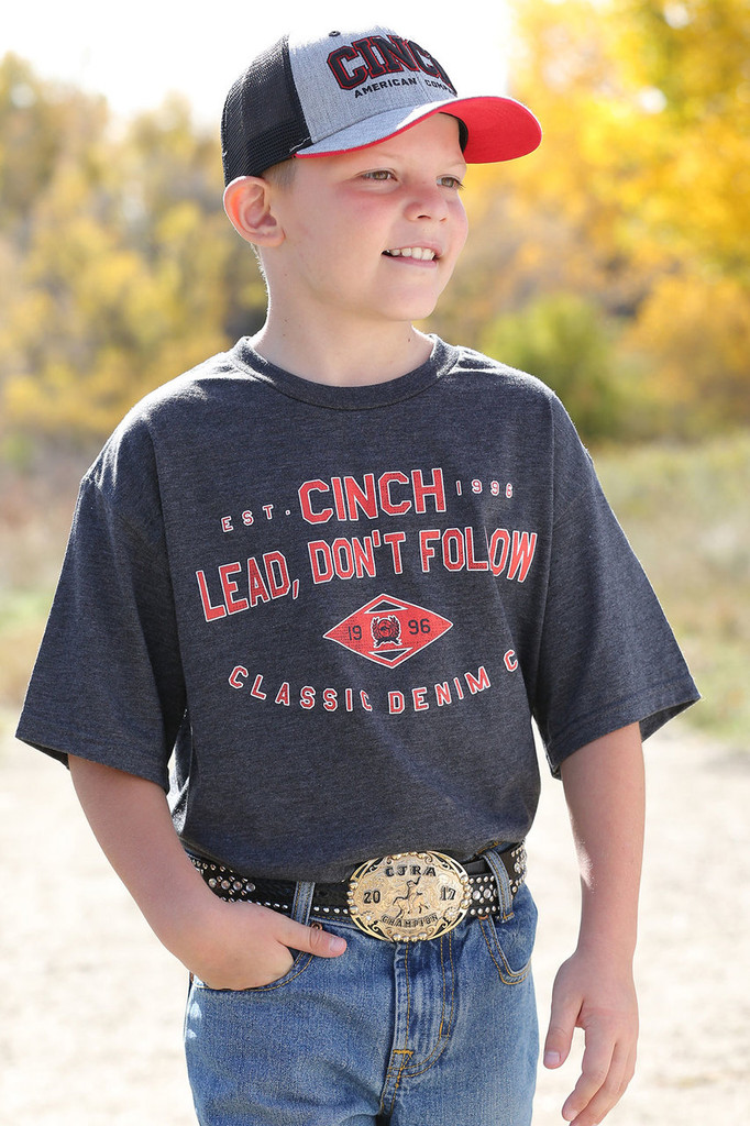 Boys Cinch Tee, Charcoal with Red Lettering