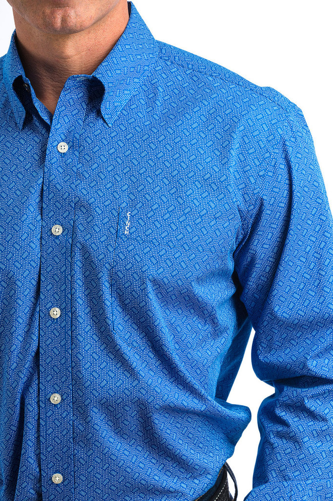 Men's Cinch L/S, Modern Fit, Blue with White Print