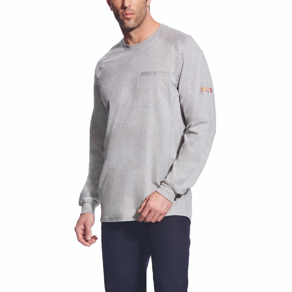 Men's Ariat L/S, FR, Silver, Crew Neck, Front Pocket
