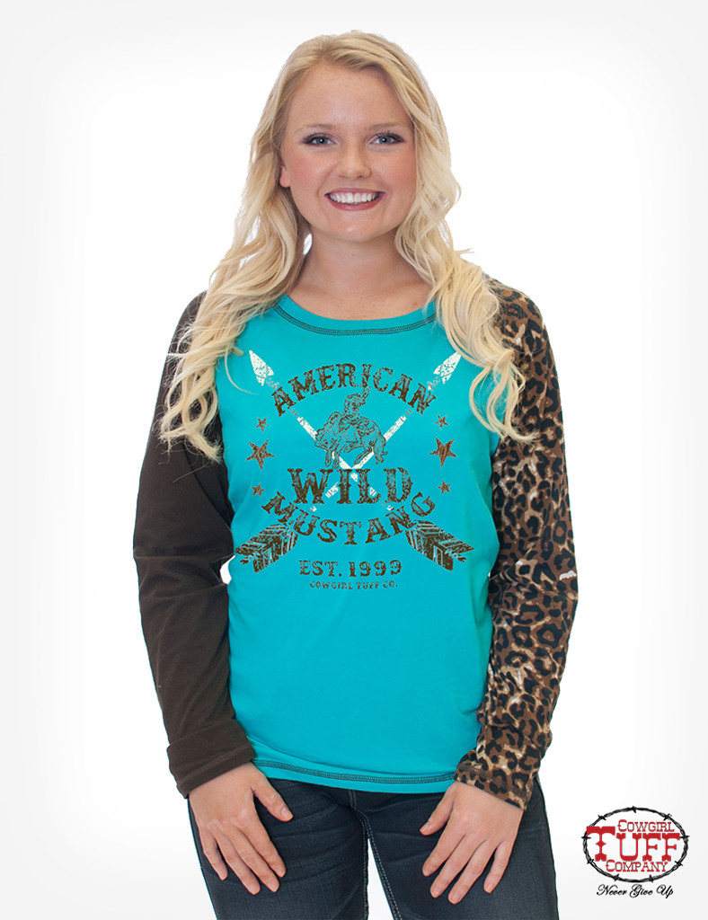 Women's Cowgirl Tuff L/S, Turquoise With Leopard Buckin' Horse