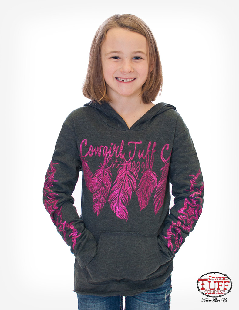 Girls Cowgirl Tuff Hoodie, Gray with Hot Pink Feathers