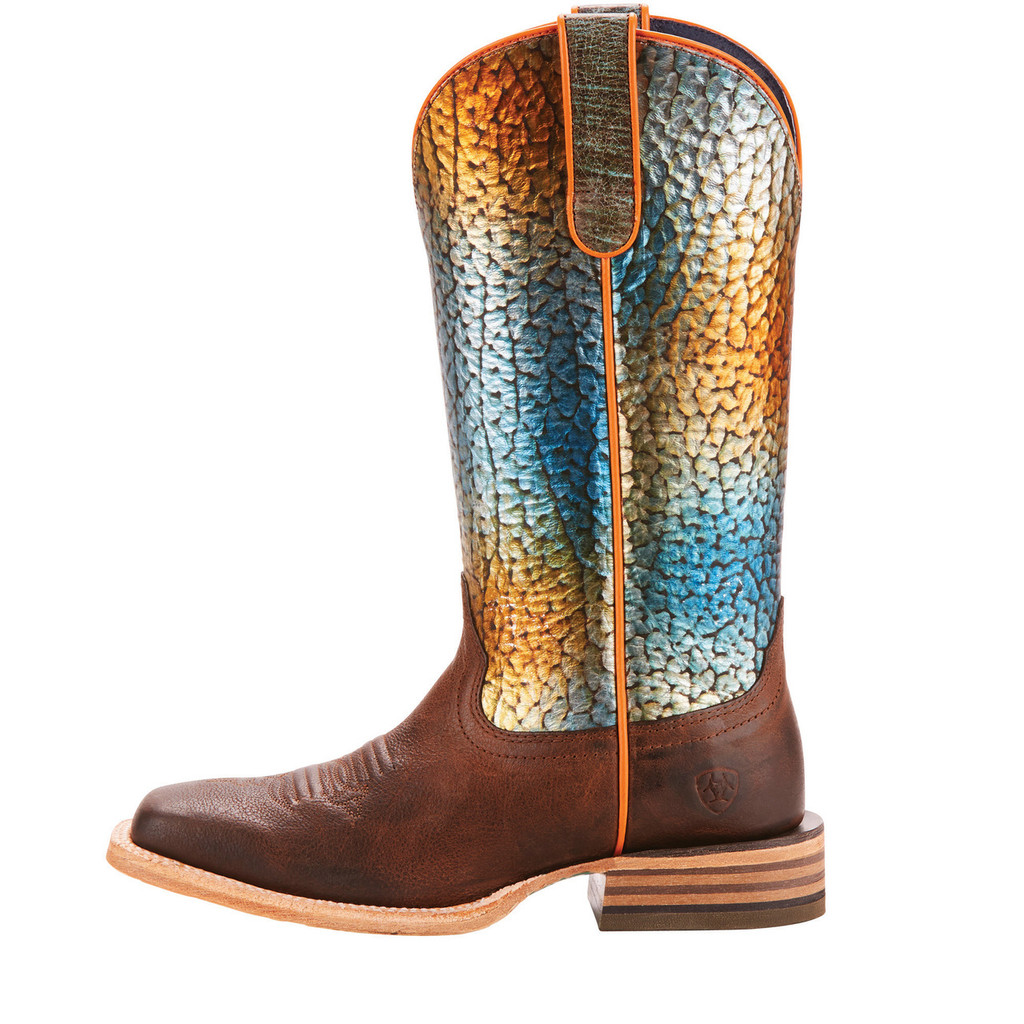 Women's Ariat Boot, Gringa, Brown with Ranbow Scale Shaft