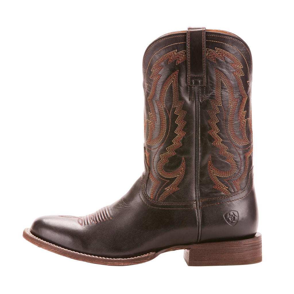Men's Ariat Boot, Circuit Competitor, Black with Orange and Red Stitching