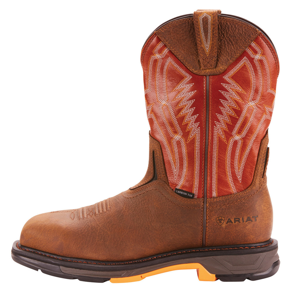Men's Ariat Boot, Workhog, CarbonToe, Brown with Red Shaft