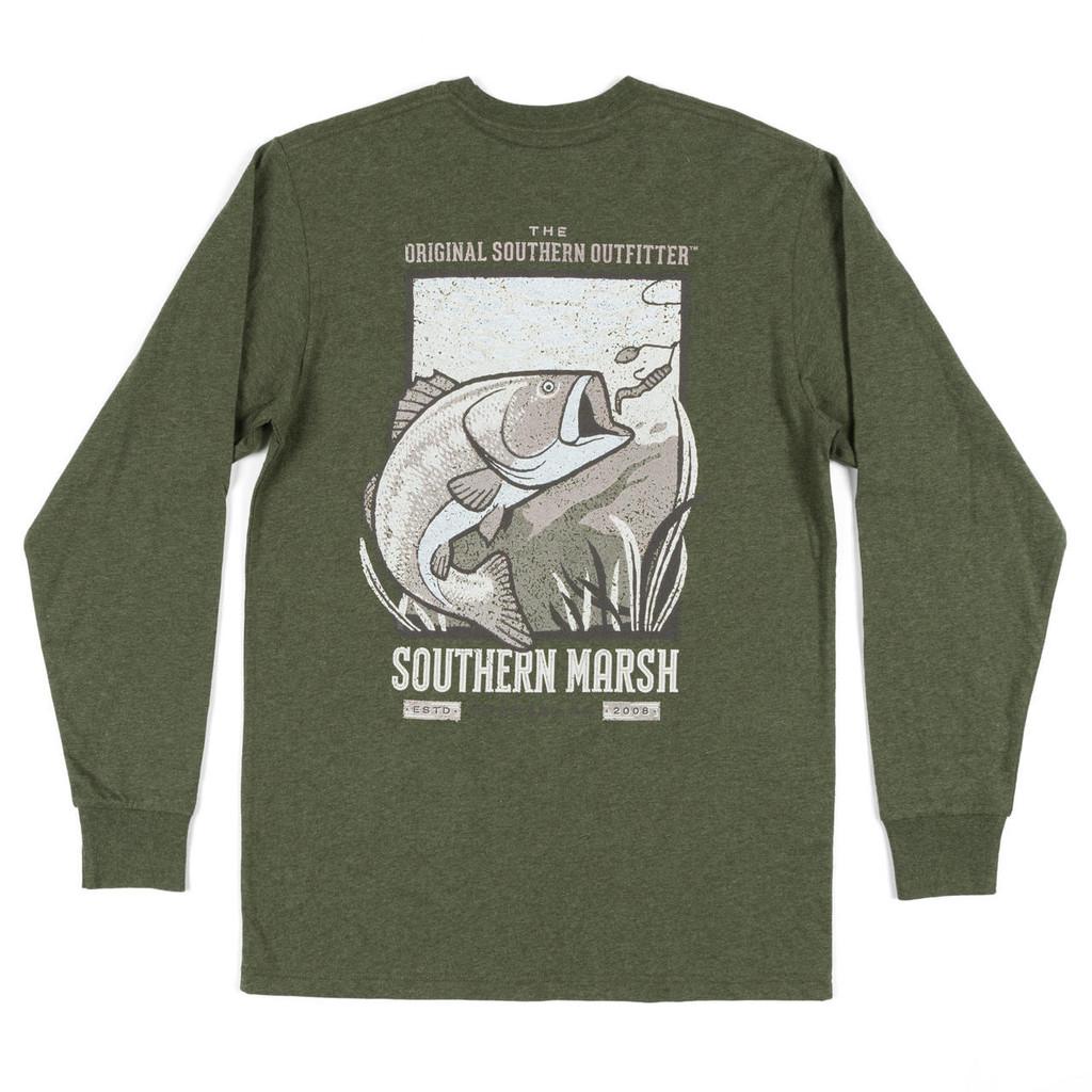 Men's Southern Marsh L/S, Vistas Bass, Dark Green