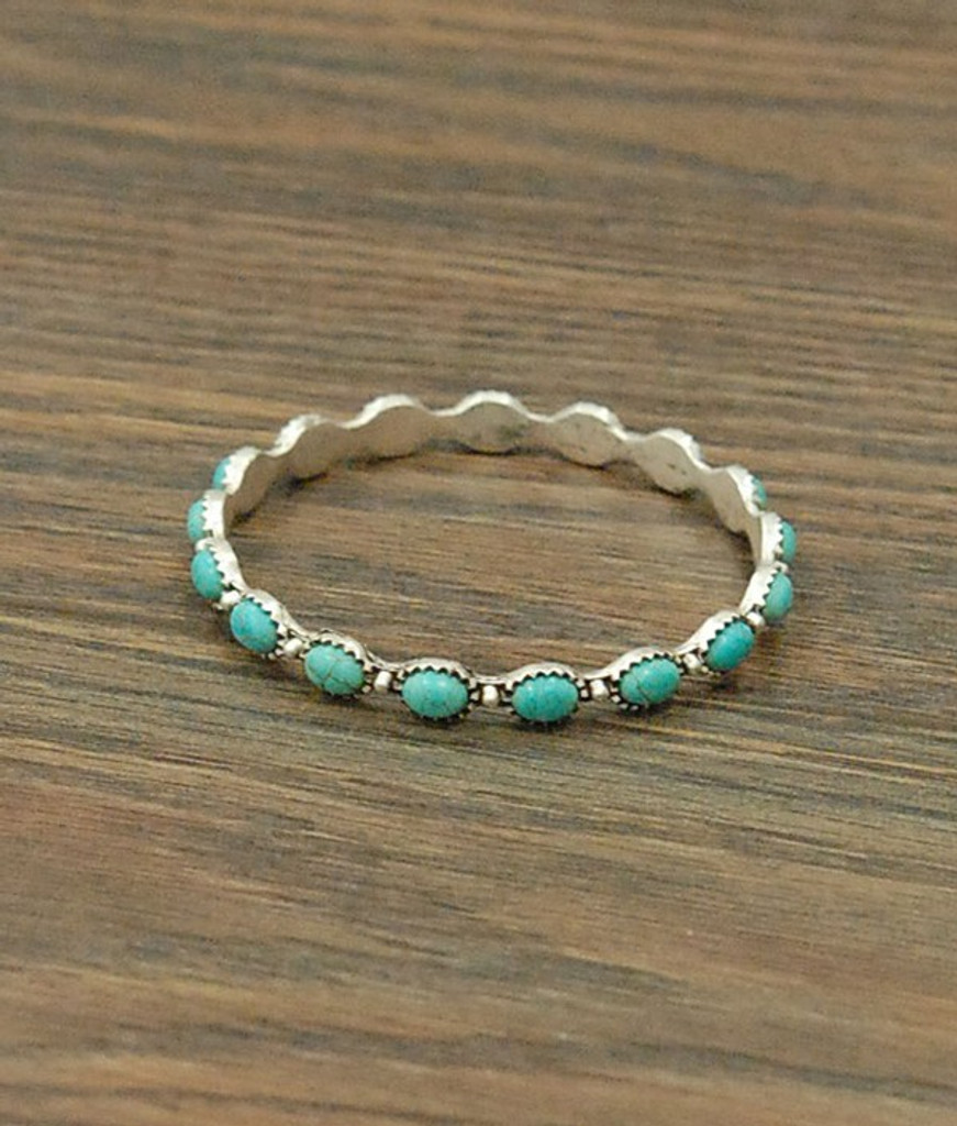 Isac Trading Bracelet, Silver with Turquoise Stones