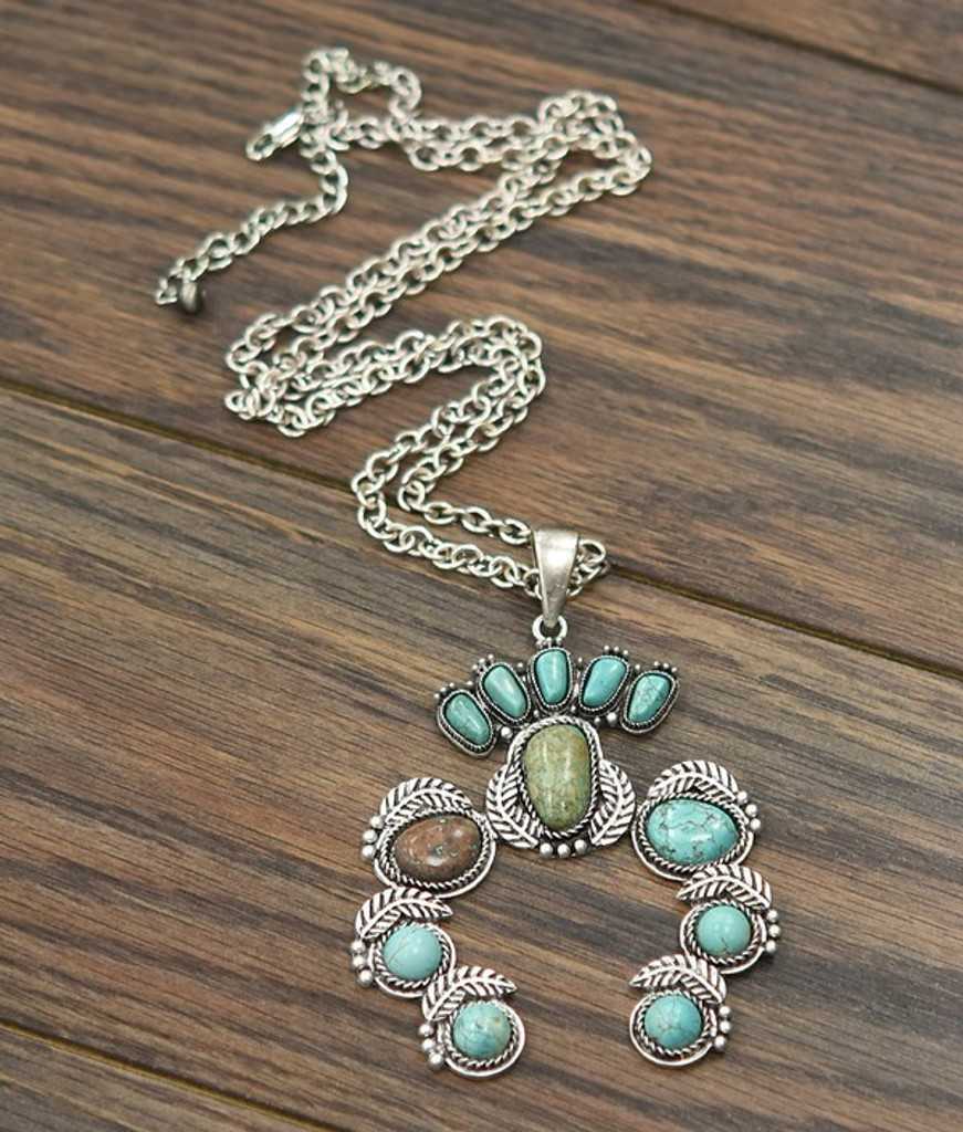 Isac Trading Necklace, Silver Chain, Turquoise Stones Squash