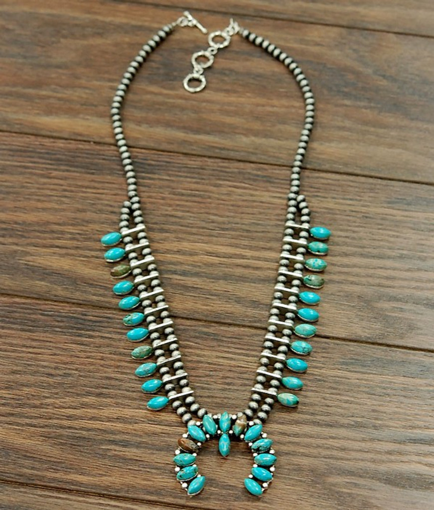 """Isac Trading Necklace, Navajo Pearls with Turquoise Squash Blossom, 29"""""""