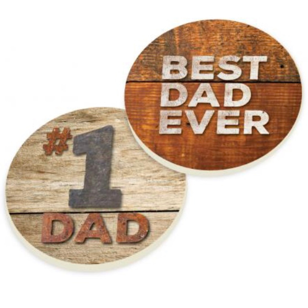 PGD Car Coaster Set, Best Dad Ever, #1 Dad