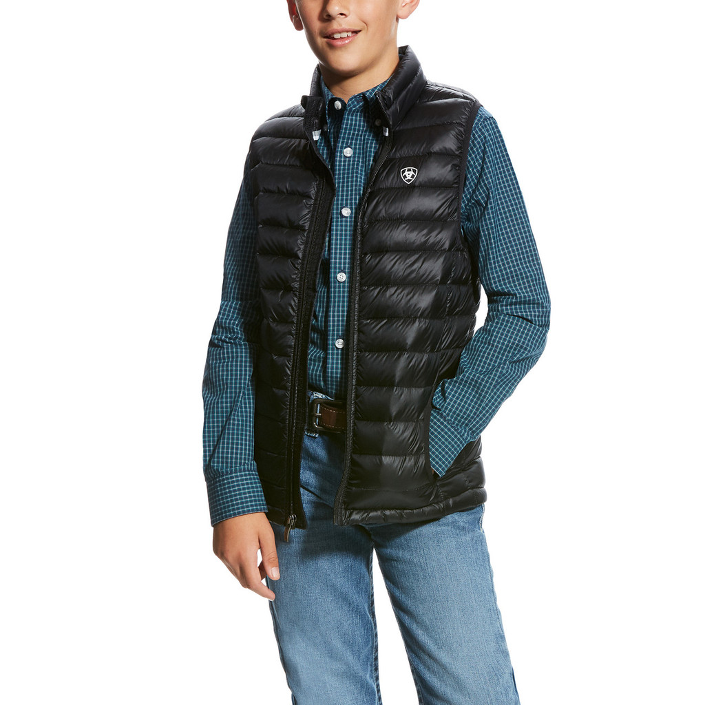 Boys Ariat Vest, Black Quilted Down