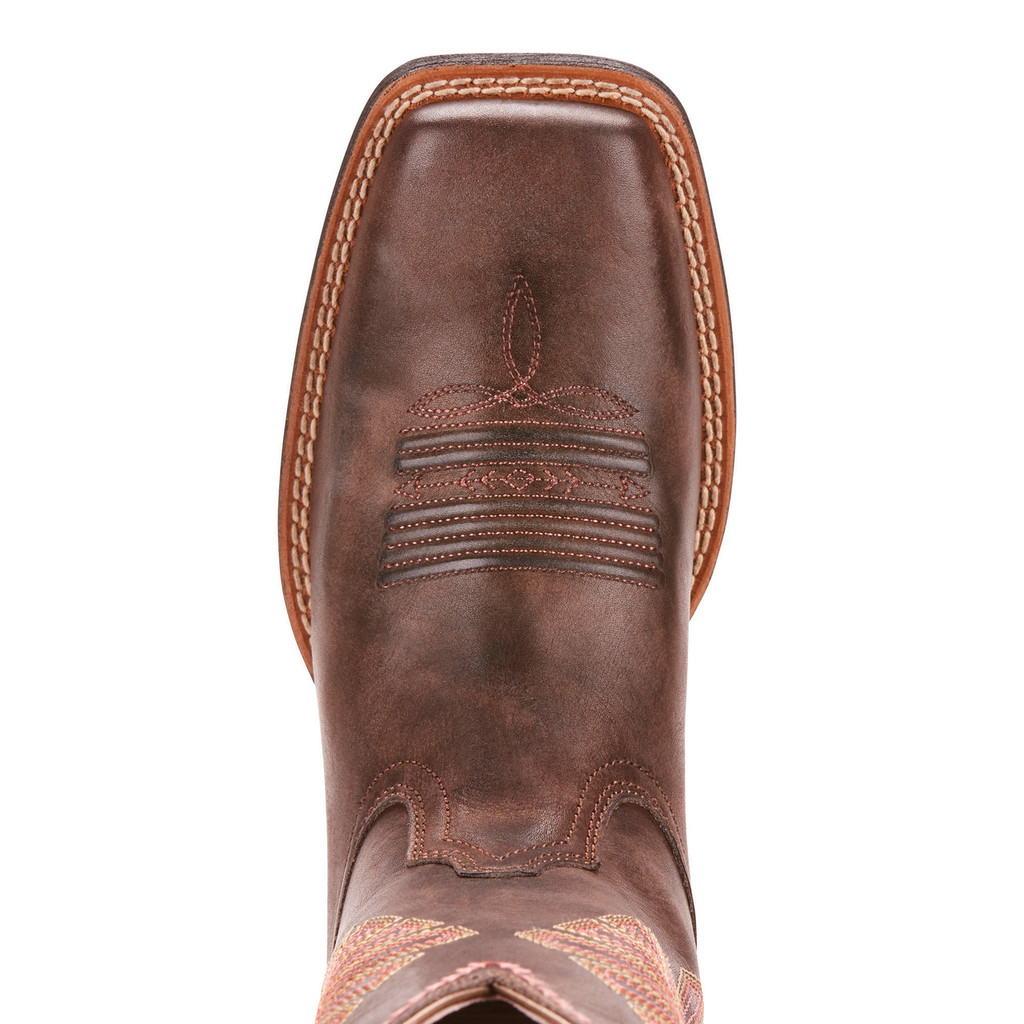 Women's Ariat Boot, Round Up Rio, Brown with Pink and Yelllow Stitching