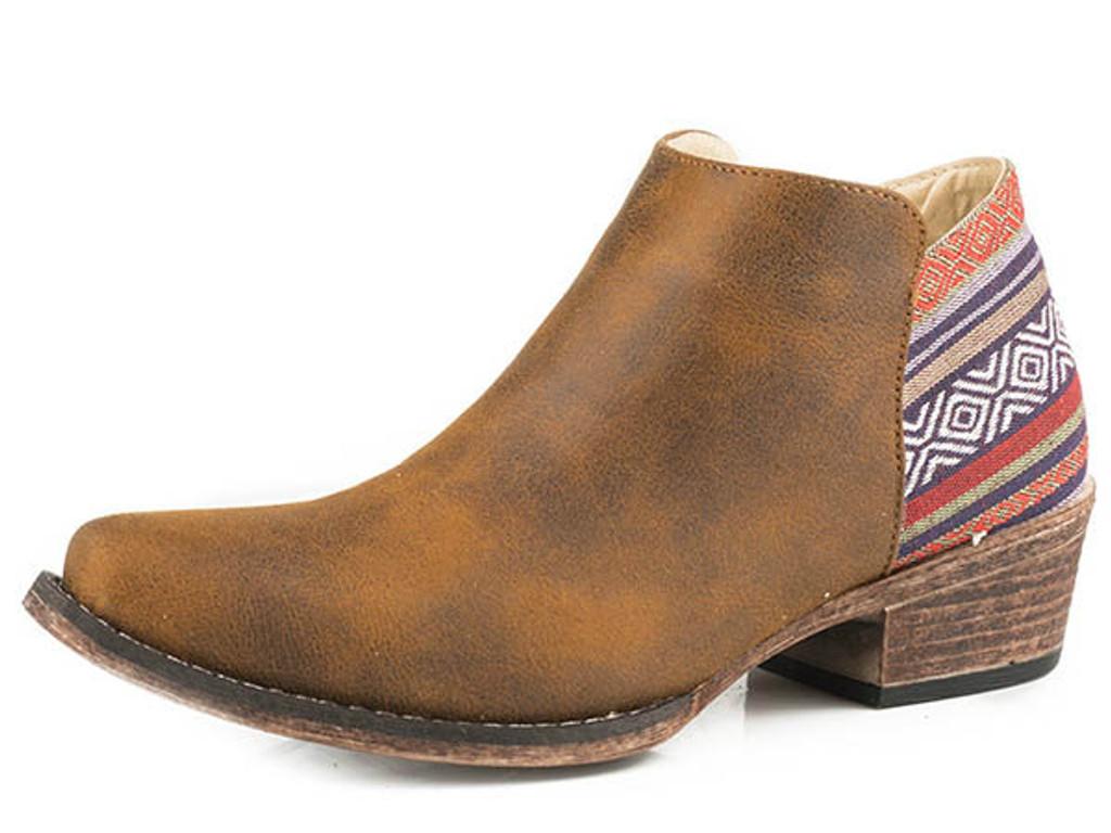 Women's Roper Ankle Boot, Brown with Serape Heel