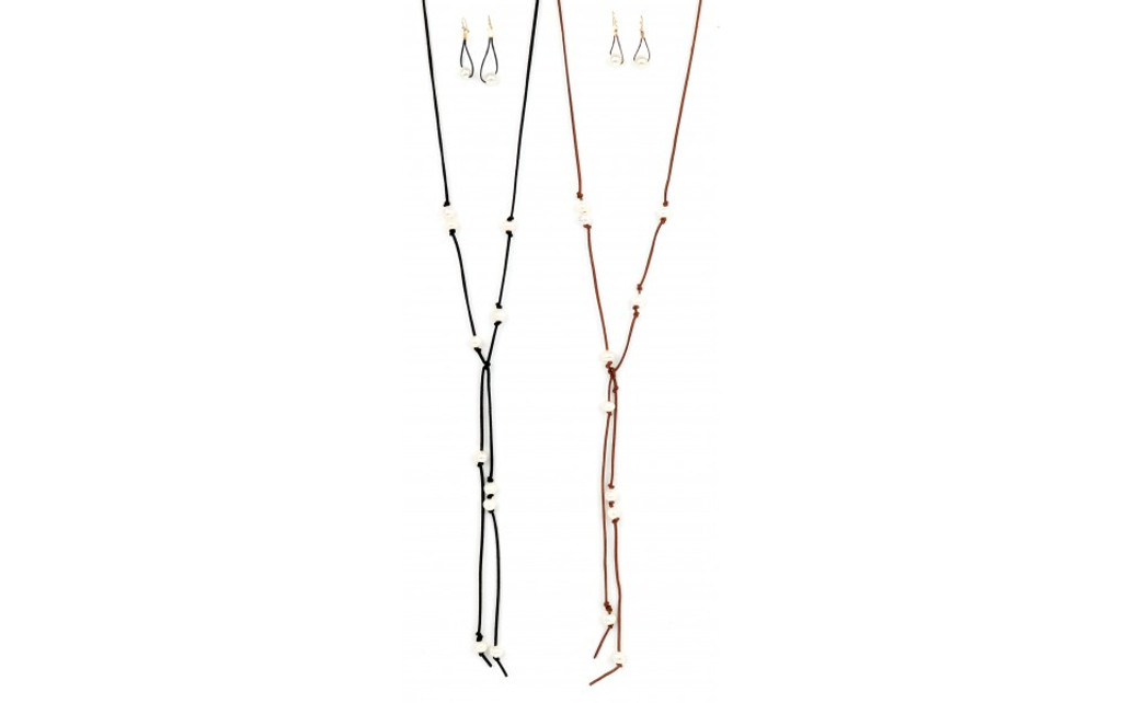 Ethel & Myrtle Necklace and Earrings, Leather with Pearl