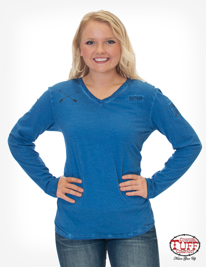 Women's Cowgirl Tuff L/S, Blue with Patches