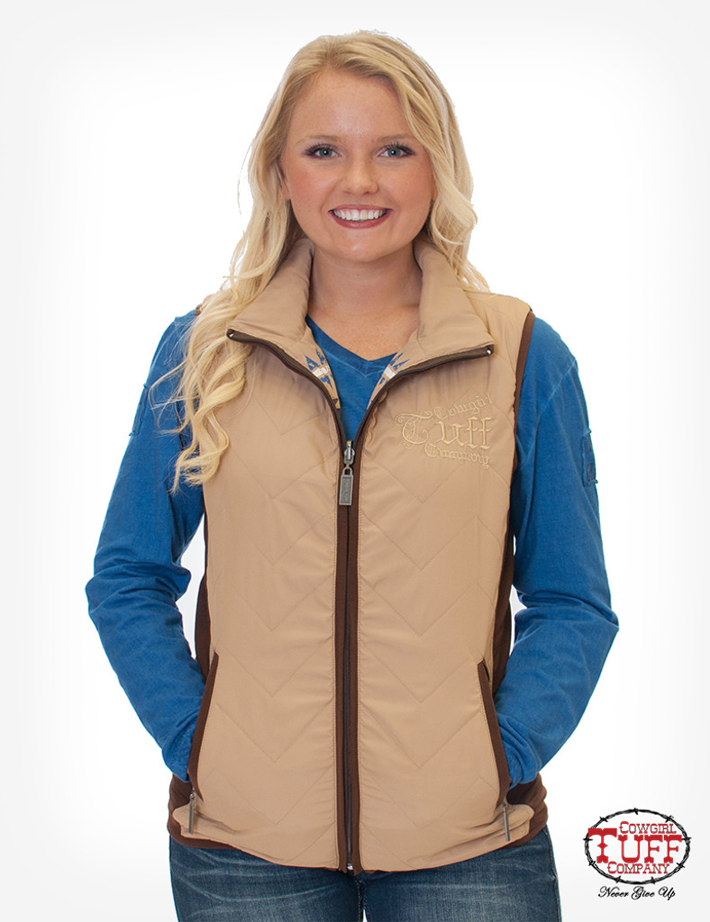 Women's Cowgirl Tuff Vest, Quilted Tan and Aztec Reversible