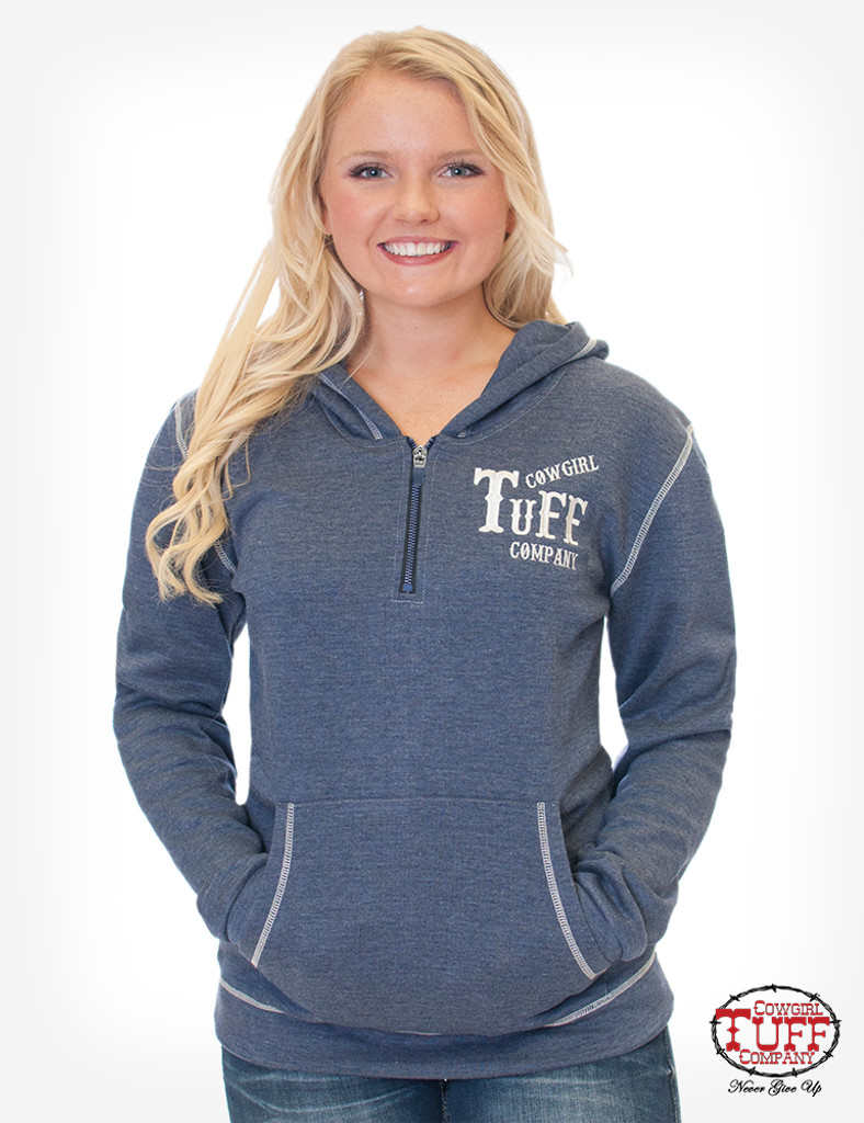 Women's Cowgirl Tuff Hoodie, Blue Fleece, Branded Embroidery