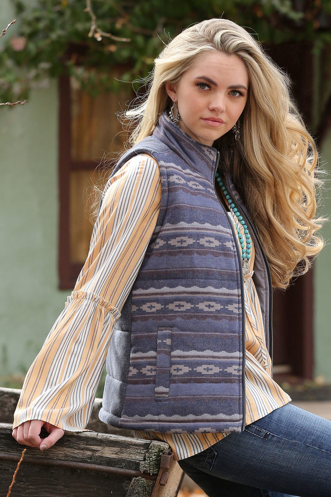Women's Cruel Girl Vest, Tweed Gray with Aztec Front