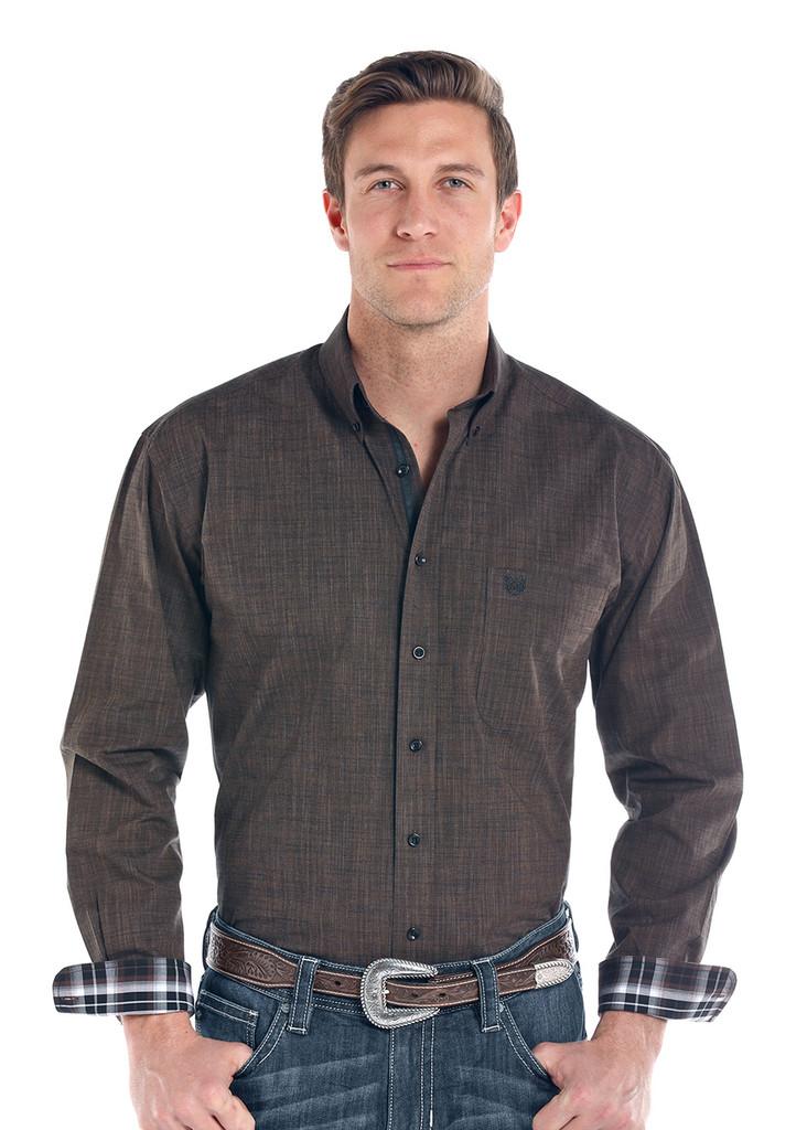 Men's Panhandle L/S, Solid Heathered Brown