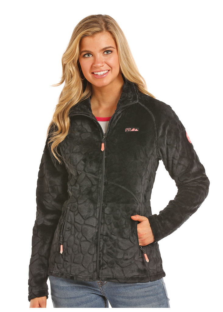 Women's Powder River Jacket, Black Micro Fleece, Scale Print