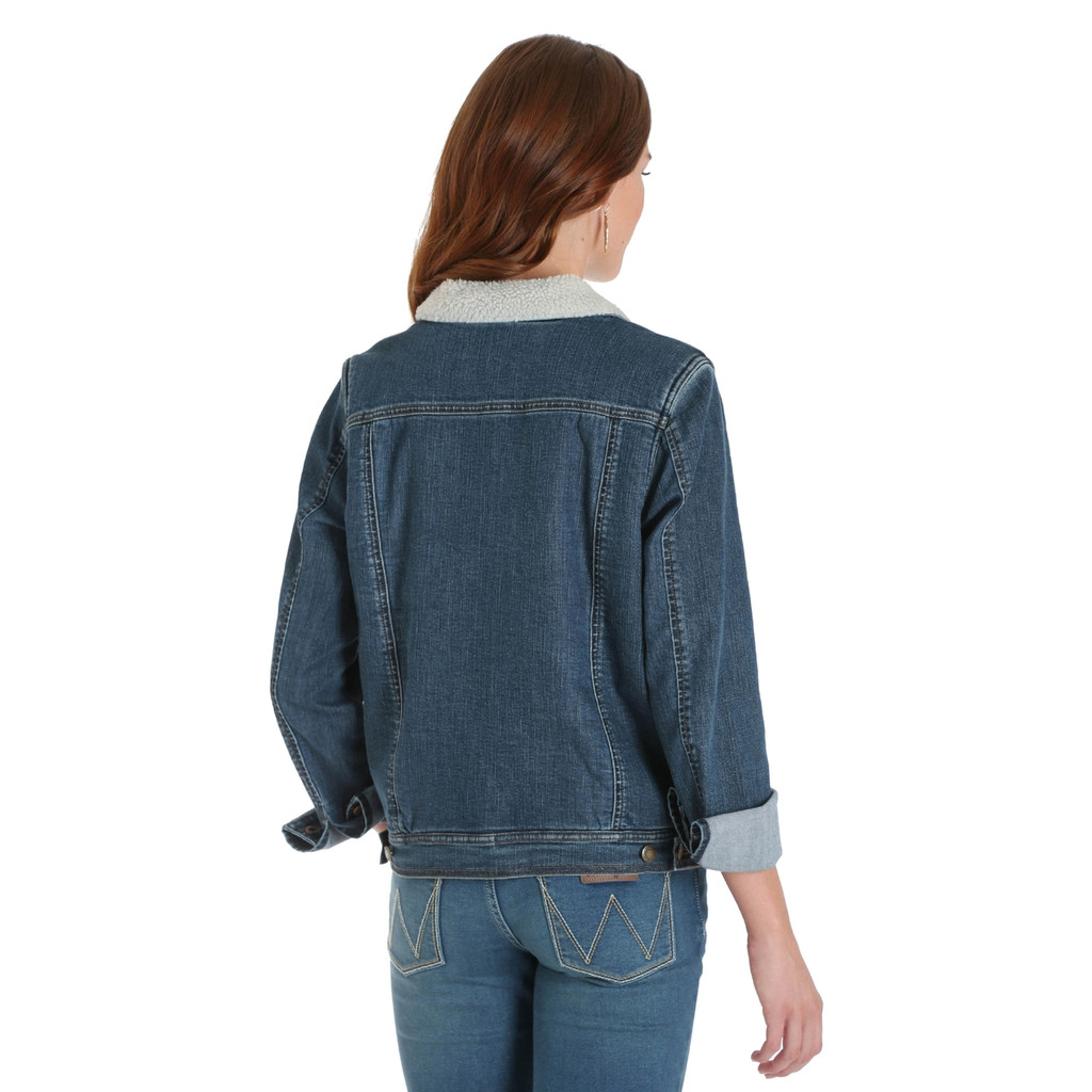 Women's Wrangler Jacket, Denim, Sherpa Lining