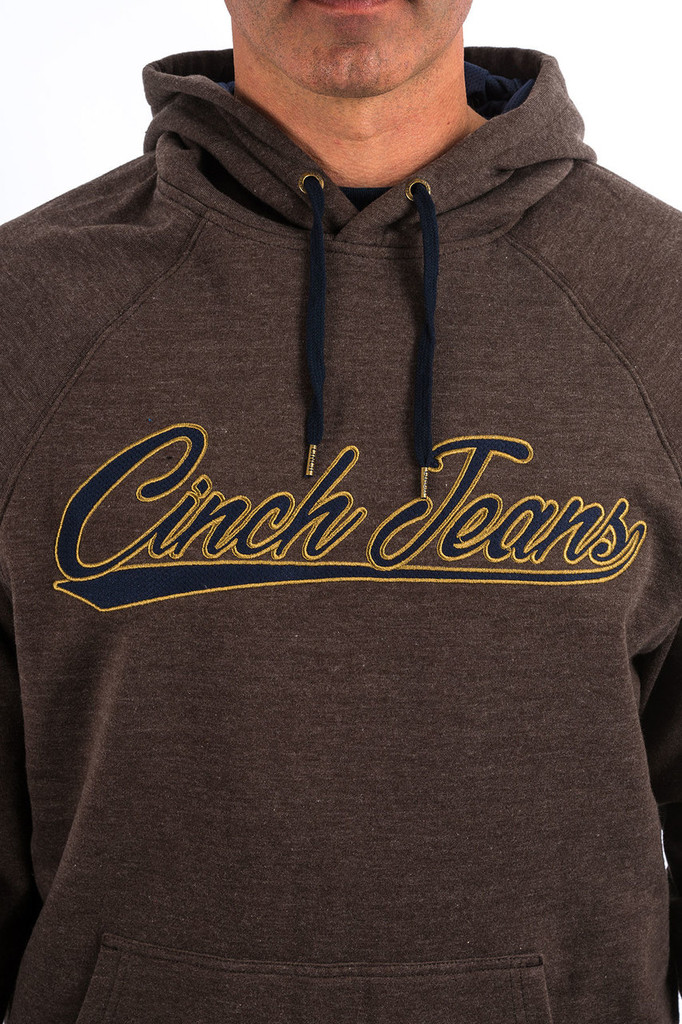 Men's Cinch Hoodie, Heather Brown, Yellow and Brown Embroidered Logo