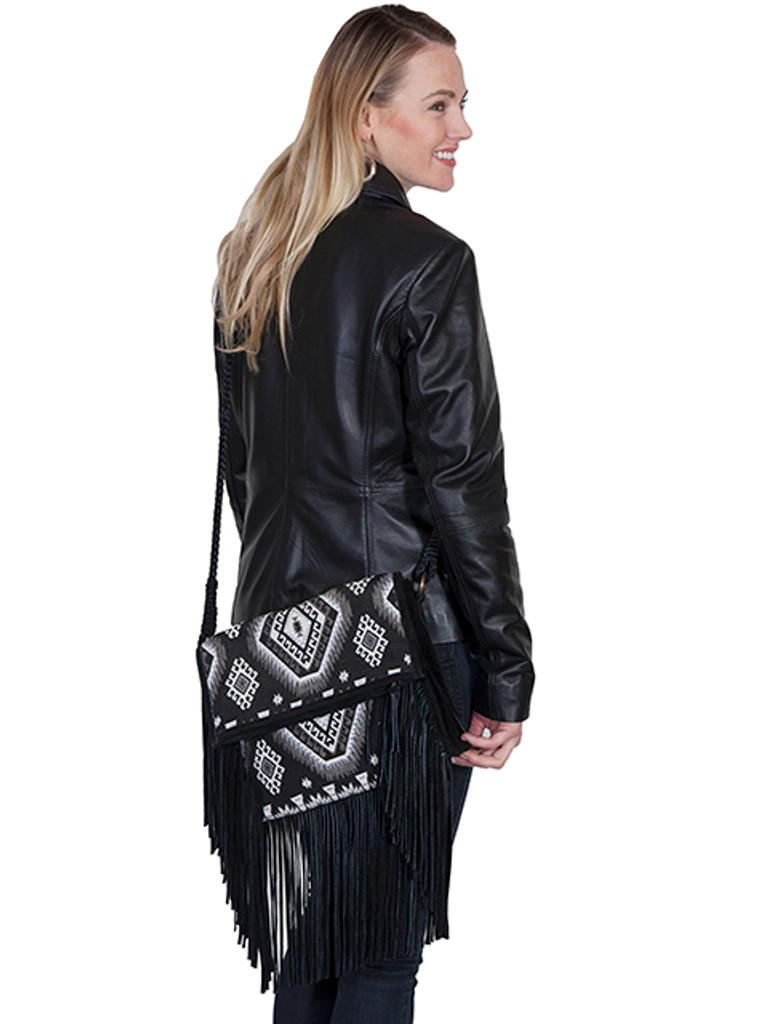 Scully Purse, Black and White Aztec with Fringe