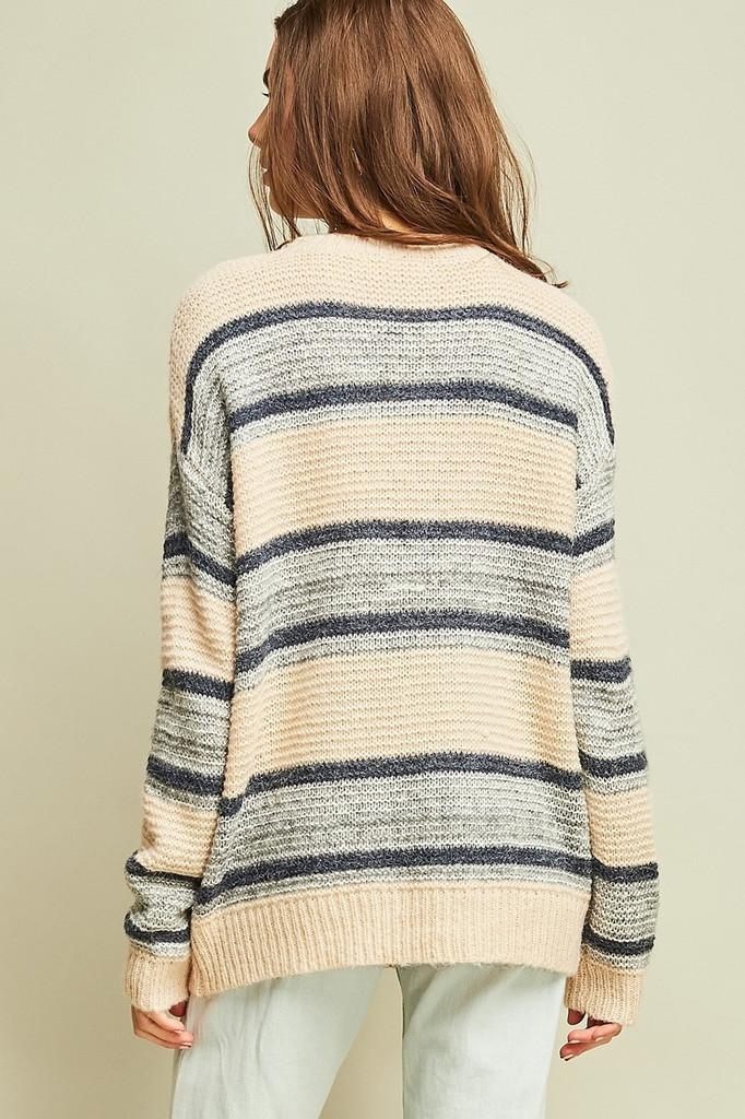 Women's Entro L/S, Stripes, Cable Knit Sweater