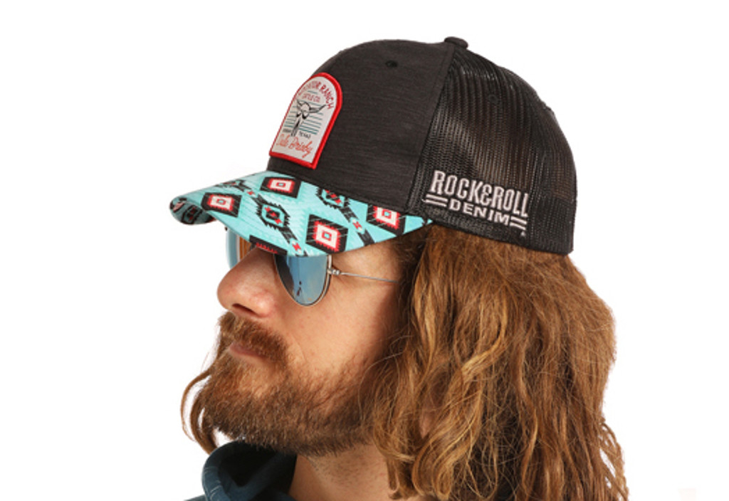 Men's Dale Brisby Cap, Black with Red Logo and Aztec Bill