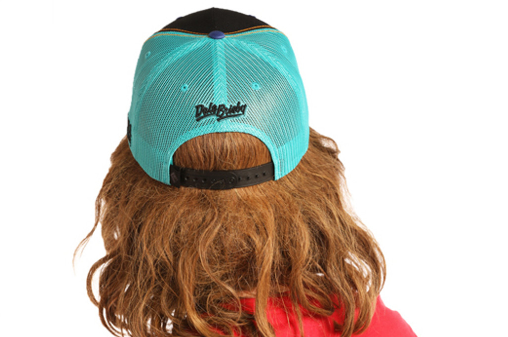 Men's Dale Brisby Cap, Black with Turquoise Mesh, Neon Logo