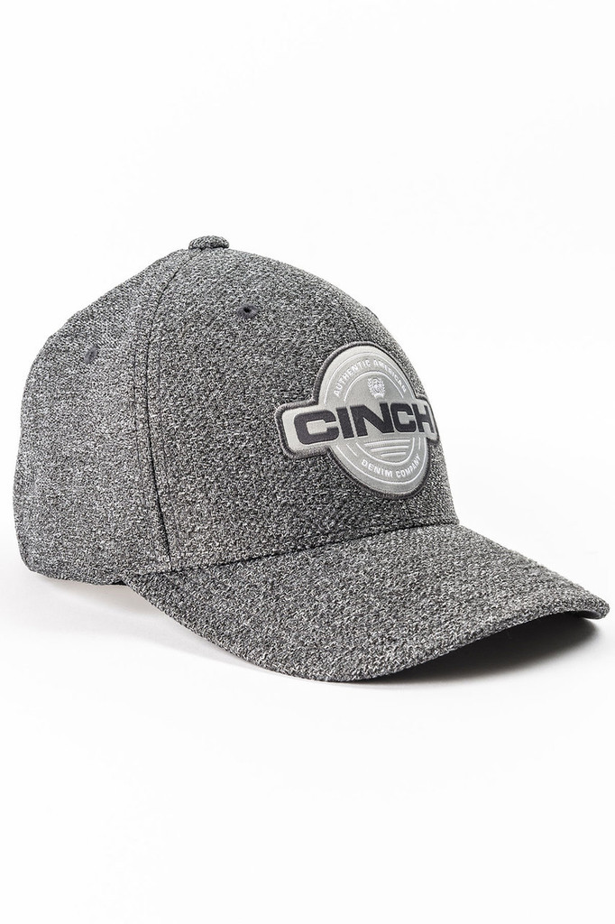 Men's Cinch Cap, Heather Gray, White Logo, Fitted