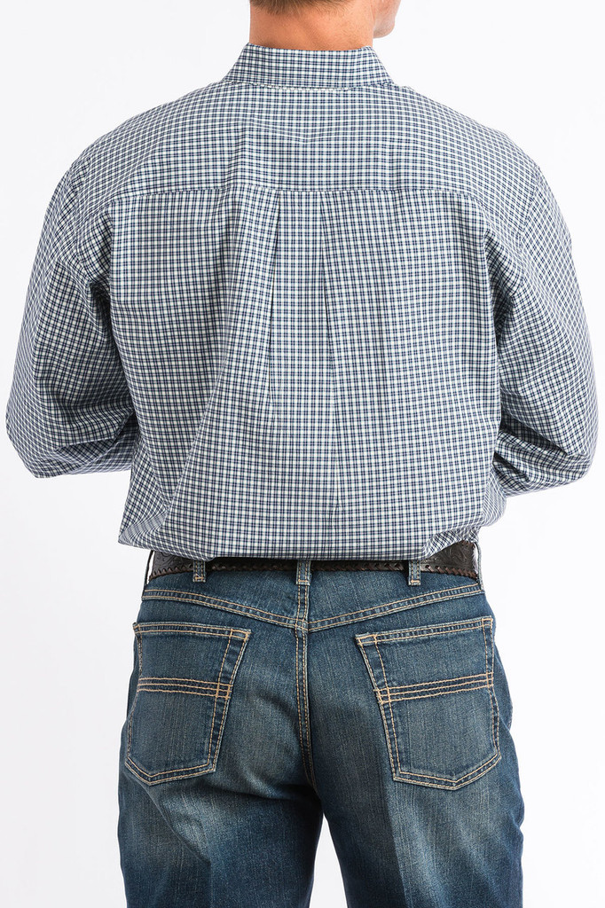 Men's Cinch L/S, Blue and White Mini Plaid