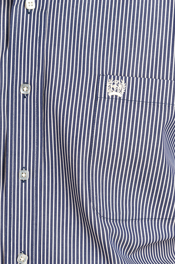 Men's Cinch L/S, Navy and White Pinstripe