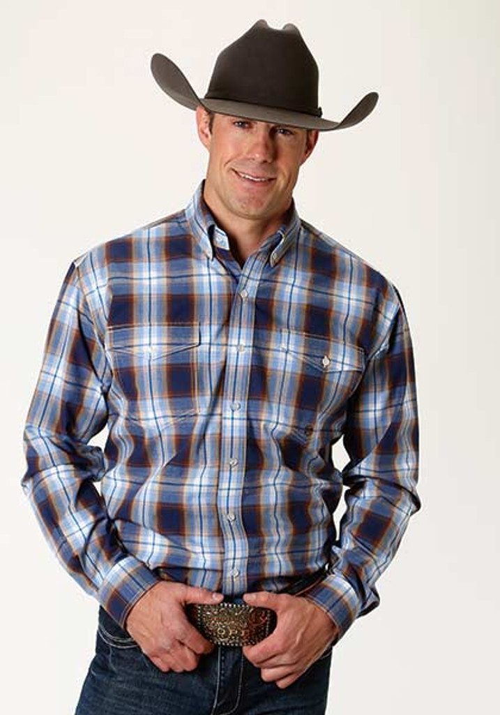 Men's Roper L/S, Blue Brown and White Plaid