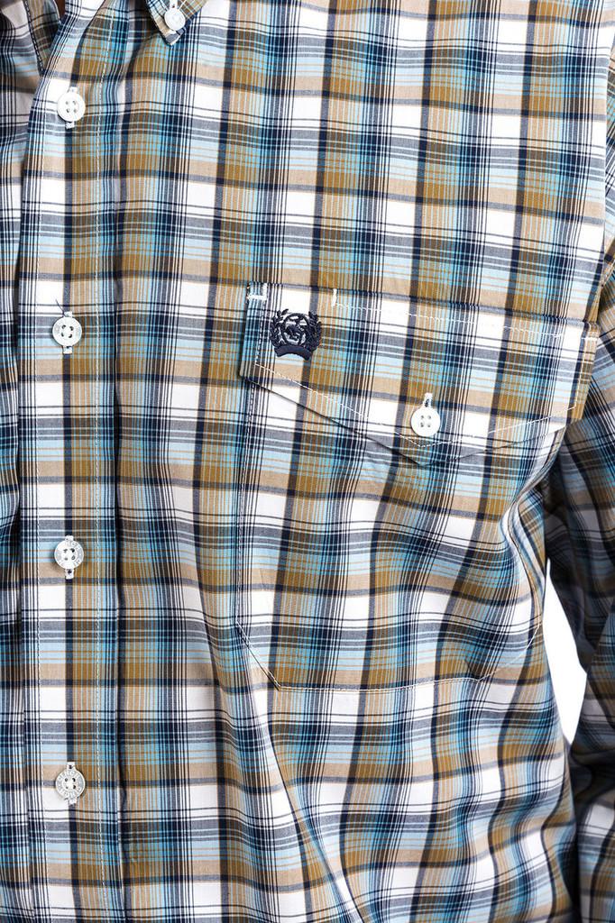 Men's Cinch L/S, Tan, Blue and White Plaid