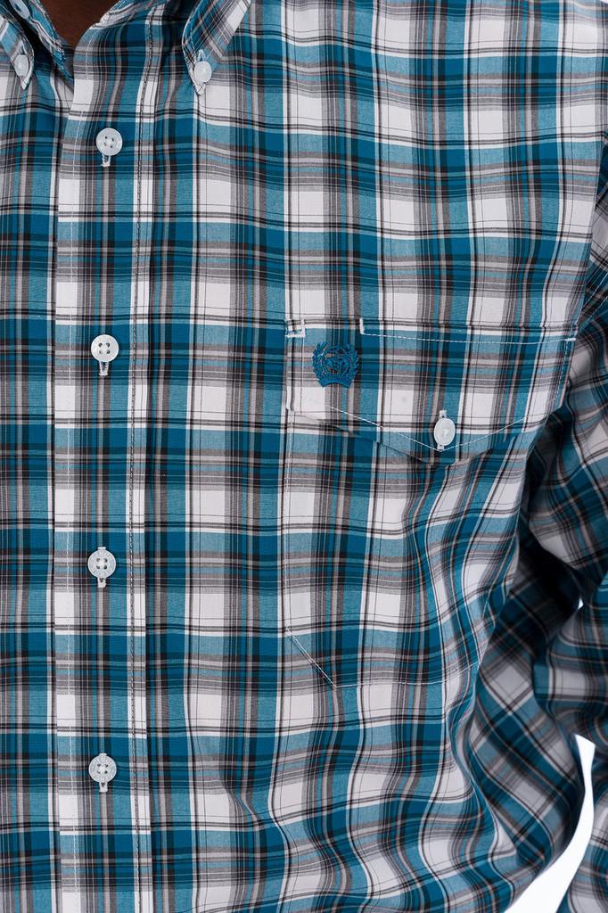 Men's Cinch L/S, Blue with White Plaid