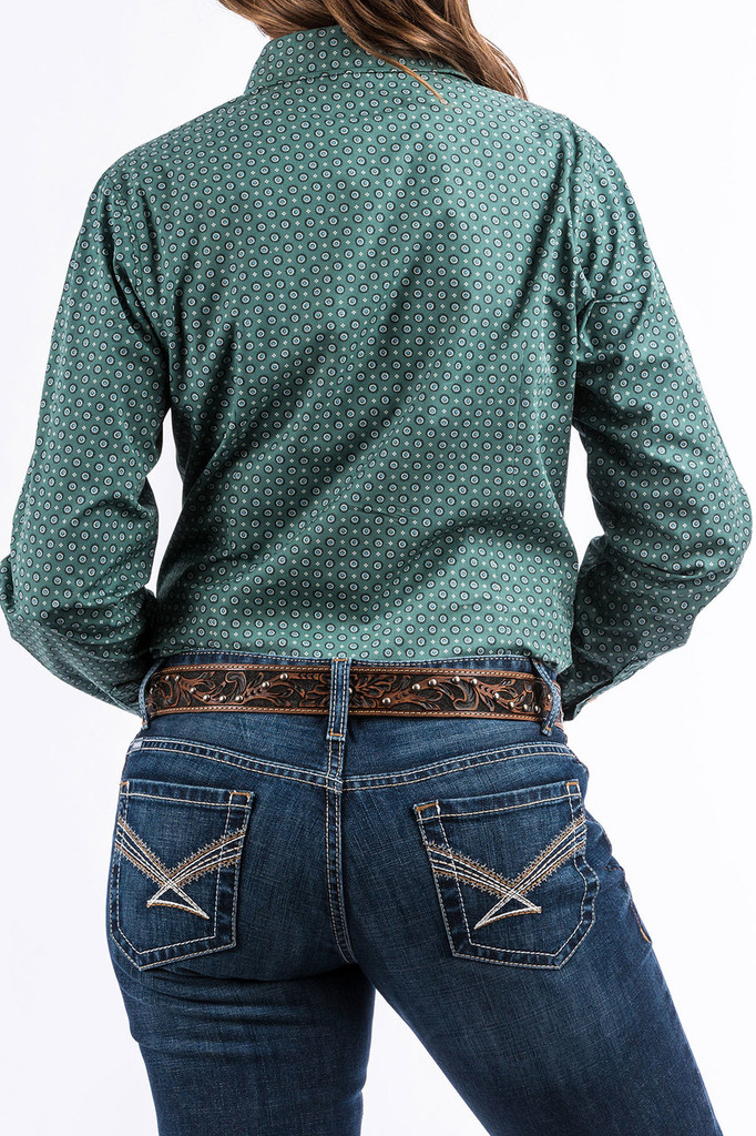 Women's Cinch L/S, Green with Blue and Black Print